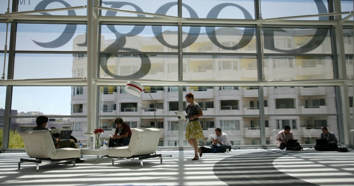A Google logo is seen through the window in San Francisco during Google's annual developer conference on June 28, 2012 in California.</p>