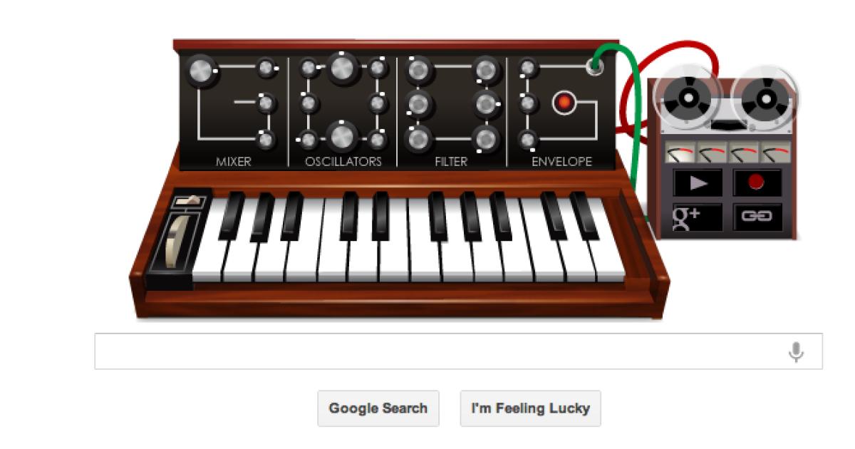 Screen grab of the Robert Moog Google doodle.</p>