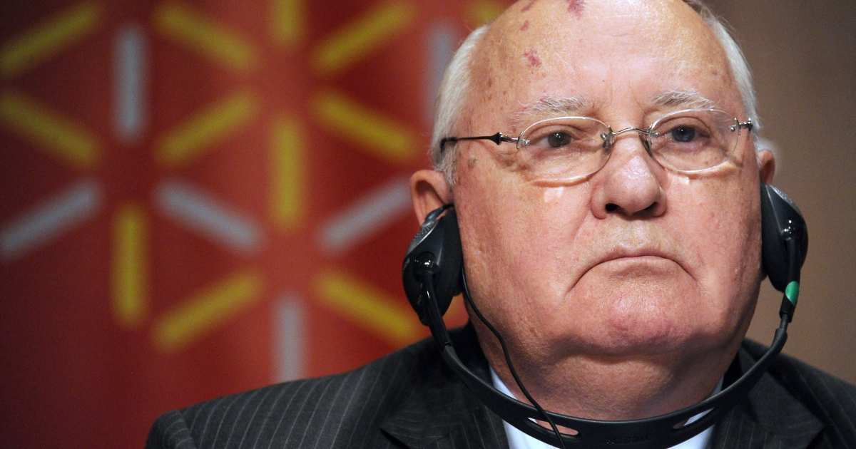 Former Soviet Union President Mikhail Gorbachev attends a news conference in Montpellier, France in November as part of the New Policy Forum annual meeting.</p>