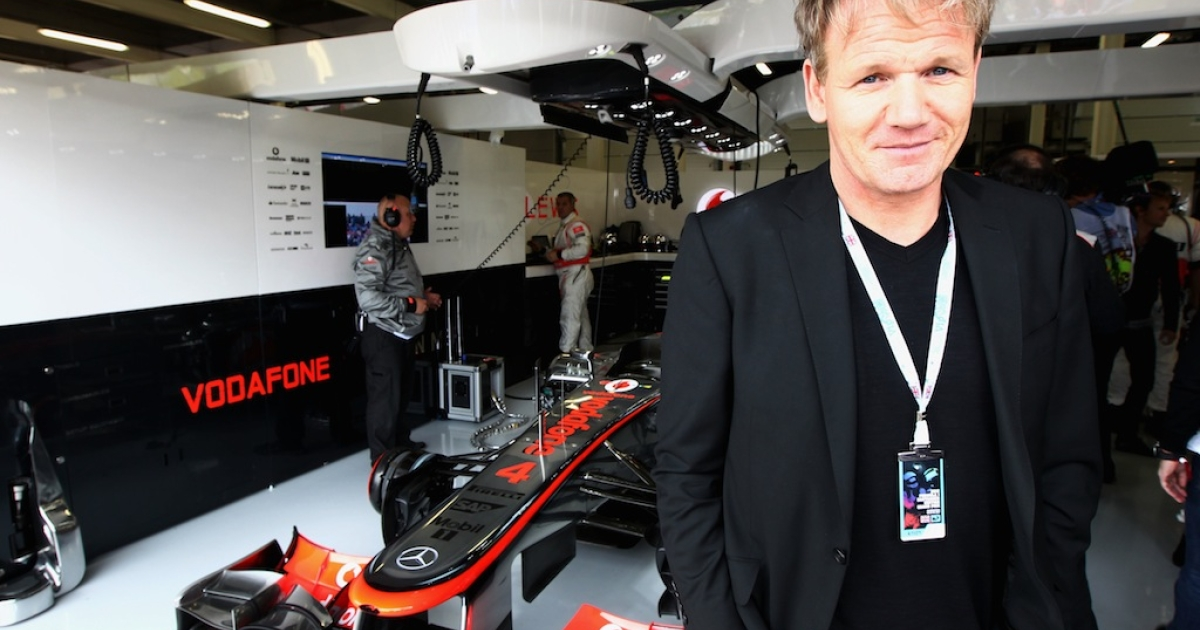 Celebrity chef Gordon Ramsay is seen before the British Grand Prix at Silverstone Circuit on July 8, 2012 in Northampton, England. (Photo by Andrew Hone/Getty Images)</p>