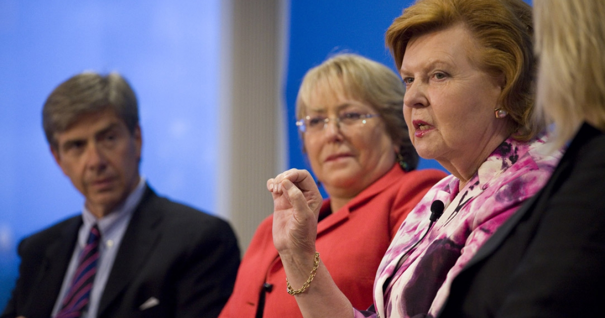 At Aspen Institute, moderator Elliot Gerson, an executive vice president at Aspen, left, listens to Vaira Vike-Freiberga, far right, former president of Latvia, make a point at a session on population and governance. Listening, center, is Michelle Bachelet, former president of Chile, and now executive director of UN Women.</p>