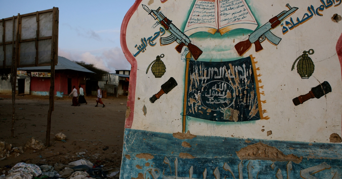 On the road to Afgoye, a signpost is evidence that Al Shabaab once controlled this area.</p>
