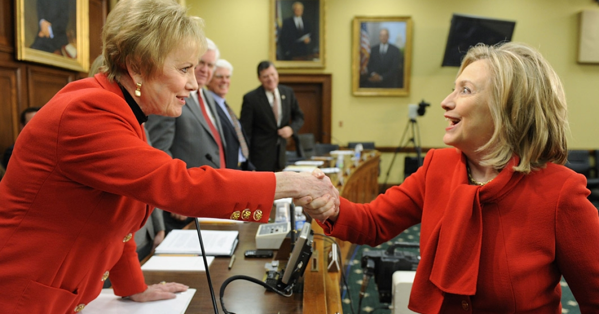 U.S. Secretary of State Hillary Clinton greets subcommittee chairman Rep. Kay Granger (R-TX) as she arrives for testimony about the State Department's FY2012 budget during a hearing of the State, Foreign Operations and Related Programs Subcommittee of the House Appropriations Committee in March 2011.  Secretary Clinton has recently warned that proposed budget cuts would have a negative effect on U.S. national security policy.</p>