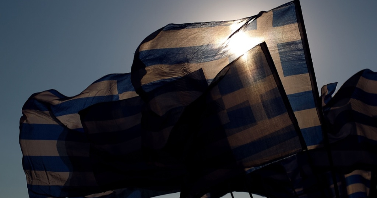 Greek flags in Athen on June 21, 2011.</p>