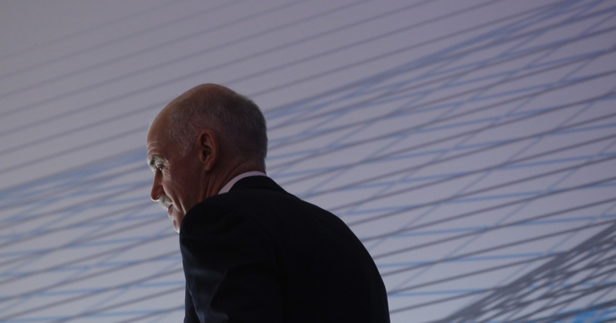 Greek Prime Minister George Papandreou prepares to speak at a convention of the Federation of German Industry (BDI) to appeal for more German investment in Greece on September 27, 2011 in Berlin, Germany.</p>