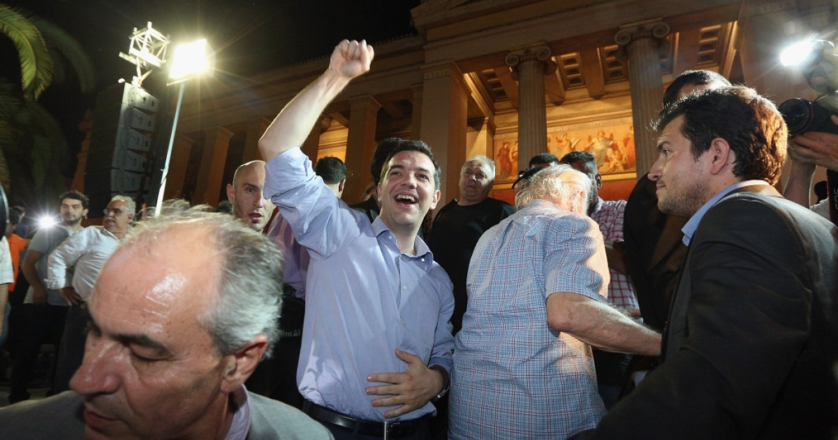 The leader of Greece's radical Syriza party, Alexis Tzipras, cheers at rally in Athens, as early results showed him taking an expected second place in the general election. No winner had been officially announced yet, but official projections have the pro-bailout New Democracy party set to gain most seats.</p>