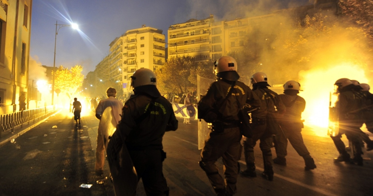 Anti-riot police clashes with demonstrators during a protest in Thessaloniki, northern Greece on September 10, 2011. Clashes broke out between police and demonstrators today as thousands took to the streets of Greece's second city of Thessaloniki in a mass protest against austerity measures.</p>