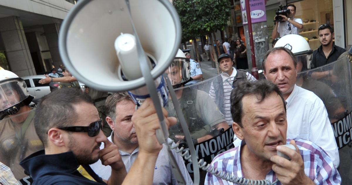 Greeks fear government austerity is damaging their society.</p>