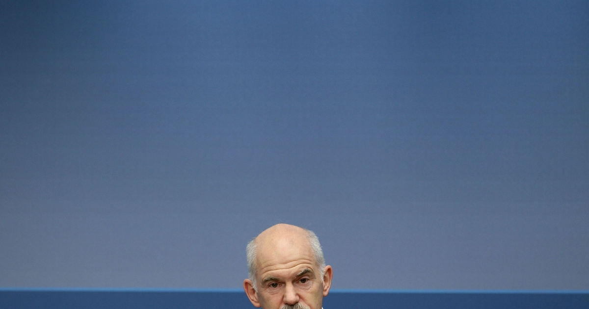 Greek Prime Minister George Papandreou speaks at the Brookings Institution on March 8, 2010 in Washington, DC.</p>