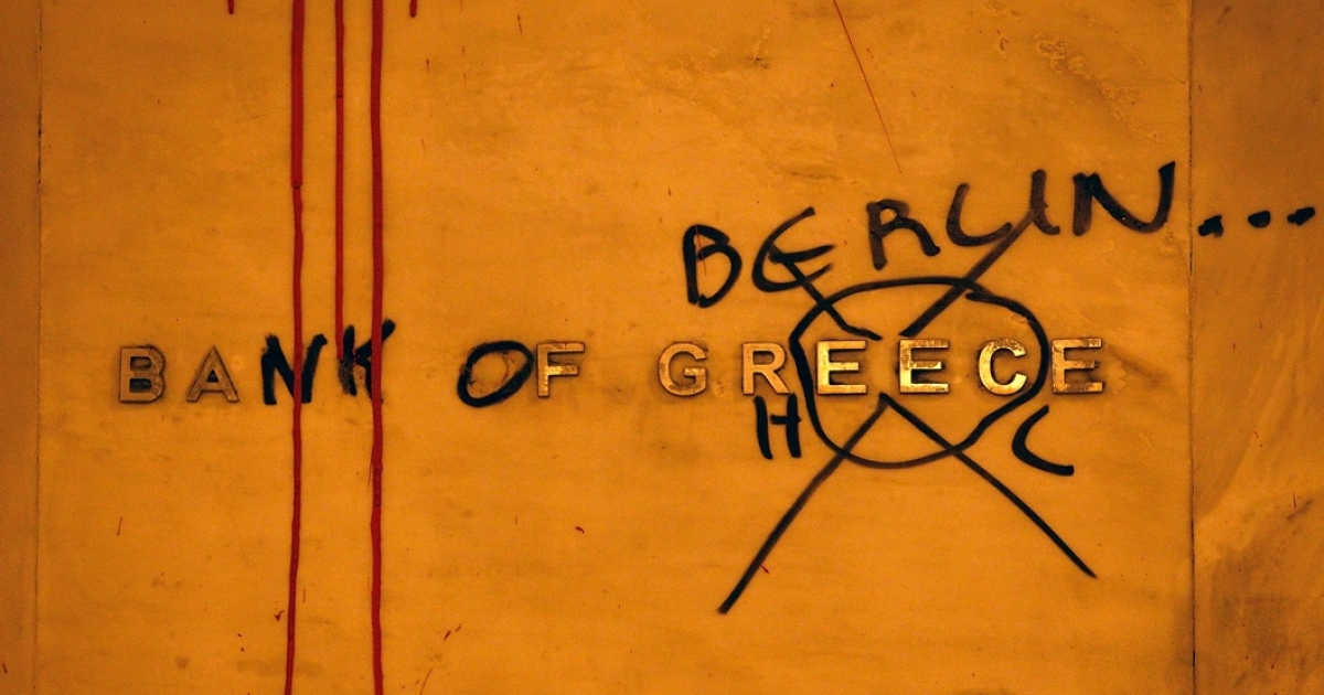 Graffiti during a protest in Athens earlier this year.</p>