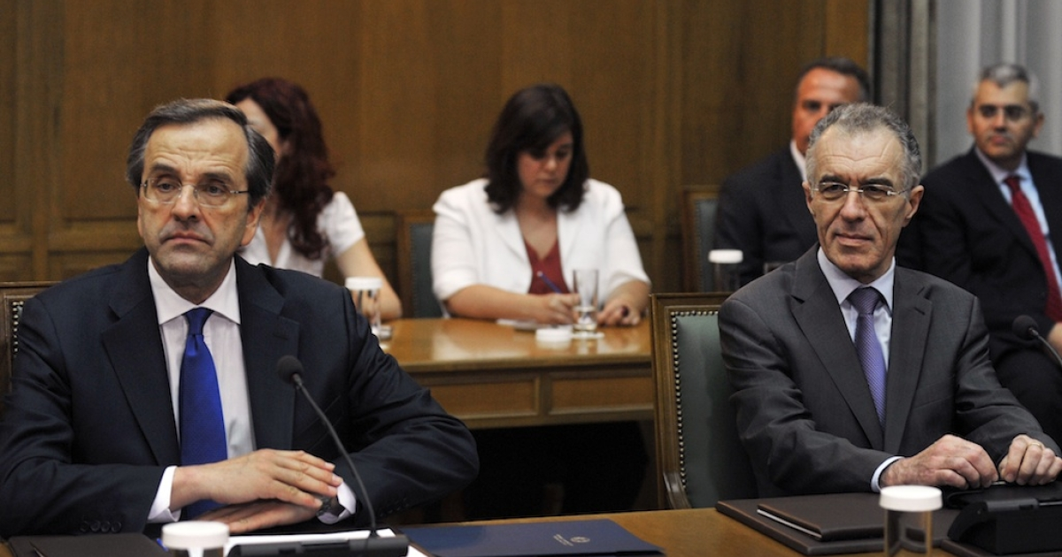 Prime Minister Antonis Samaras and Finance Minister Vassilis Rapanos are both in hospital.</p>