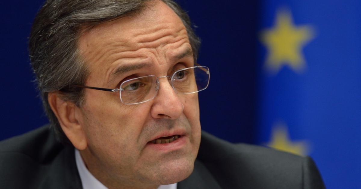 BRUSSELS, Belgium -- Greek Prime Minister Antonis Samaras.</p>