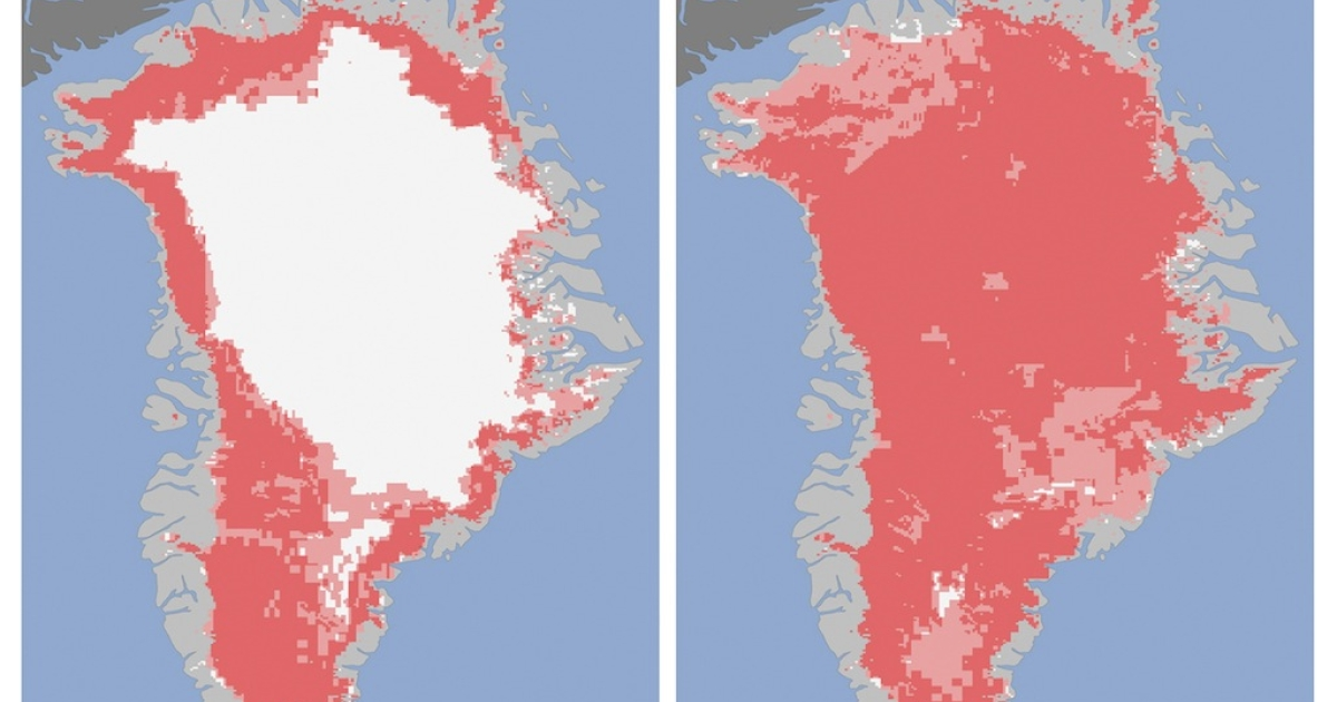 Greenlands ice sheet on July 8 (L) and July 12 (R) is seen in these NASA handout released July 24, 2012. Measurements from three satellites showed that on July 8, about 40 percent of the ice sheet had undergone thawing at or near the surface. In just a few days, the melting had dramatically accelerated and an estimated 97 percent of the ice sheet surface had thawed by July 12. In the image, the areas classified as probable melt (light pink) correspond to those sites where at least one satellite detected surface melting. The areas classified as melt (dark pink) correspond to sites where two or three satellites detected surface melting.</p>