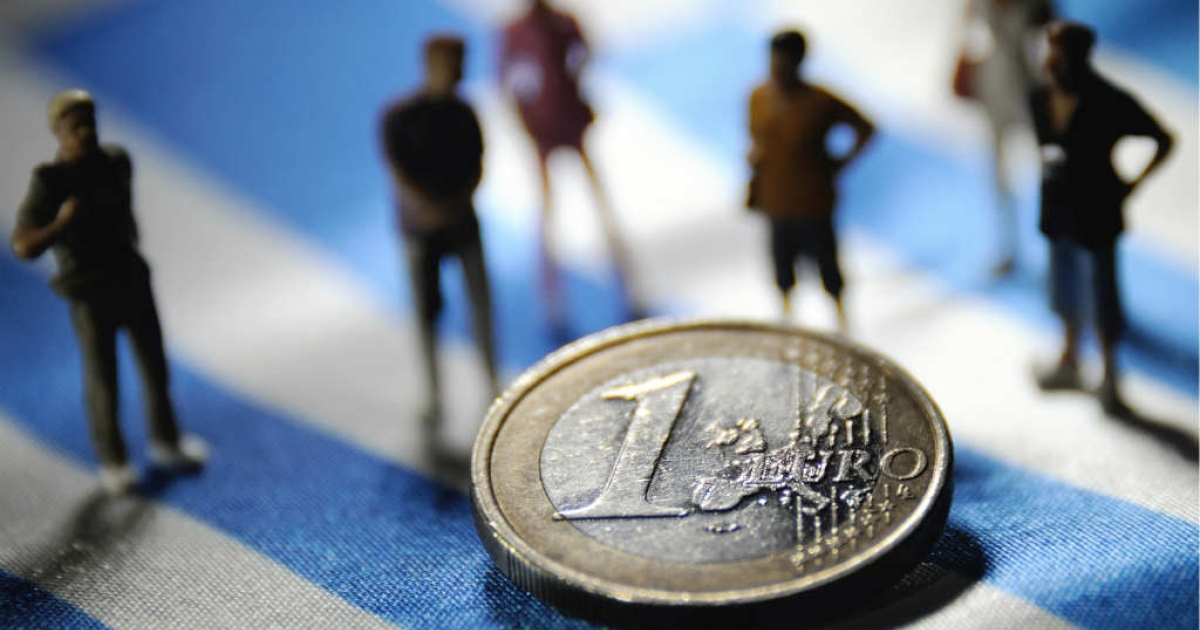 An illustration made with figurines and a euro coin set on a Greek flag. Can Obama stall a Grexit?</p>