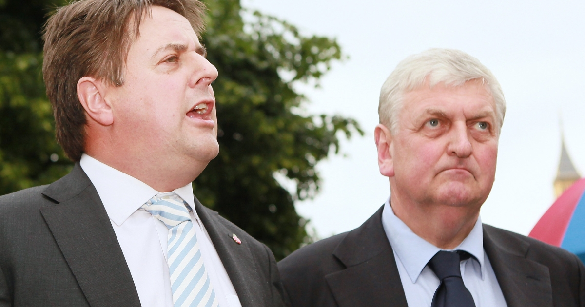 The BNP's Nick Griffin (L) and former colleague Andrew Brons.</p>