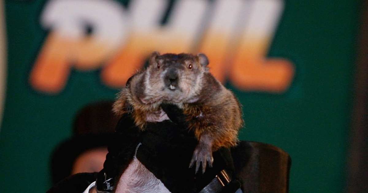 PUNXSUTAWNEY, PA - FEBRUARY 02: Punxsutawney Phil is held up in the air after he didnt see his shadow predicting an early spring during festivities February 2, 2007 in Punxsutawney, Pennsylvania. Groundhog Day is on February 2 and is a popular tradition in the United States and Canada. The tradition states that if the Groundhog sees his shadow he regards it as an omen of six more weeks of bad weather and returns to his hole. If the day is cloudy and shadowless, he takes it as a sign of spring and stays above ground.  (Photo by Mark Wilson/Getty Images)</p>