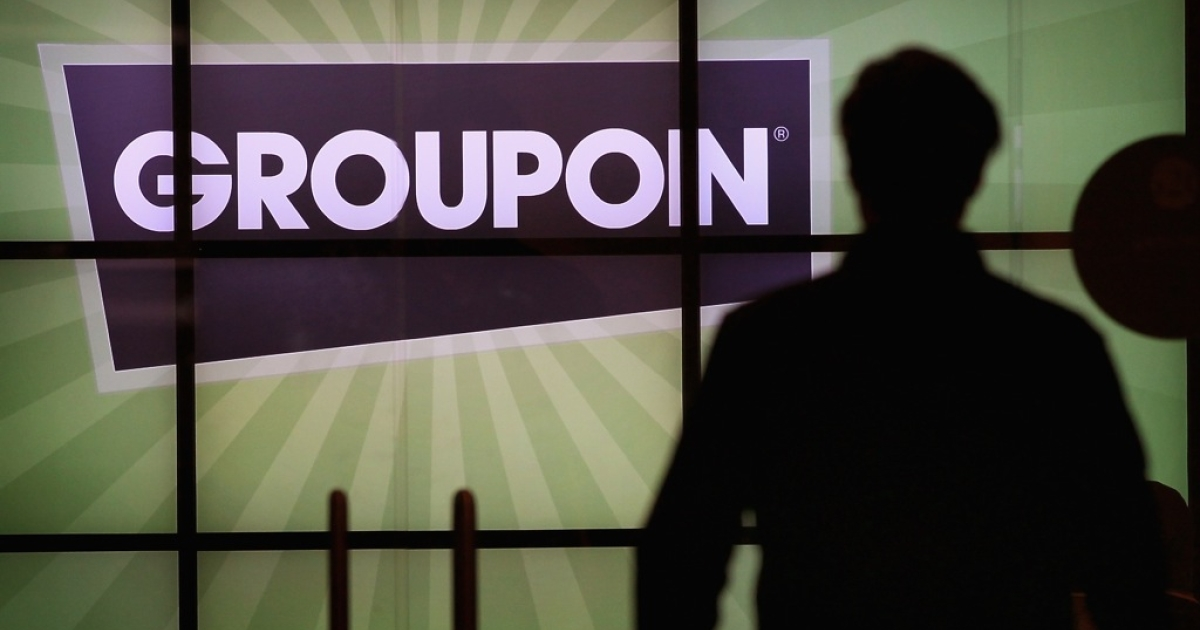 The Groupon logo is displayed in the lobby of the company's international headquarters on June 10, 2011, in Chicago, Illinois.</p>