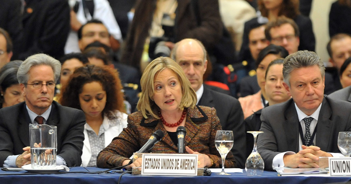 US Secretary of State Hillary Clinton delivers a speech during the International Conference of Support for the Central American Security Strategy on June 22, 2011 in Guatemala City.</p>
