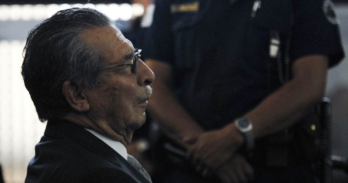 Retired General and former de facto President Jose Efrain Rios Montt is seen in a court in Guatemala City on January 26, 2012, during a hearing for a case for human rights abuses committed during the 36-year civil war.</p>