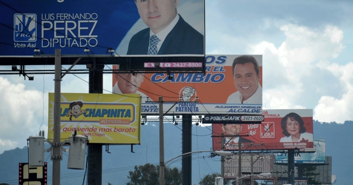 Electoral billboards advertise various political parties in Guatemala City on Aug. 7, 2011.</p>