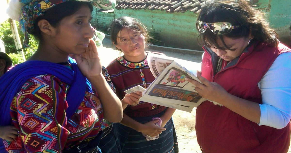 Red Cross worker Yuly Hoffens takes down the information of indigenous Guatemalans affected by the earthquake. Lucia Arazil Lopez (left) is sleeping in the home of a neighbor because she's afraid her damaged home will collapse during ongoing aftershocks.</p>