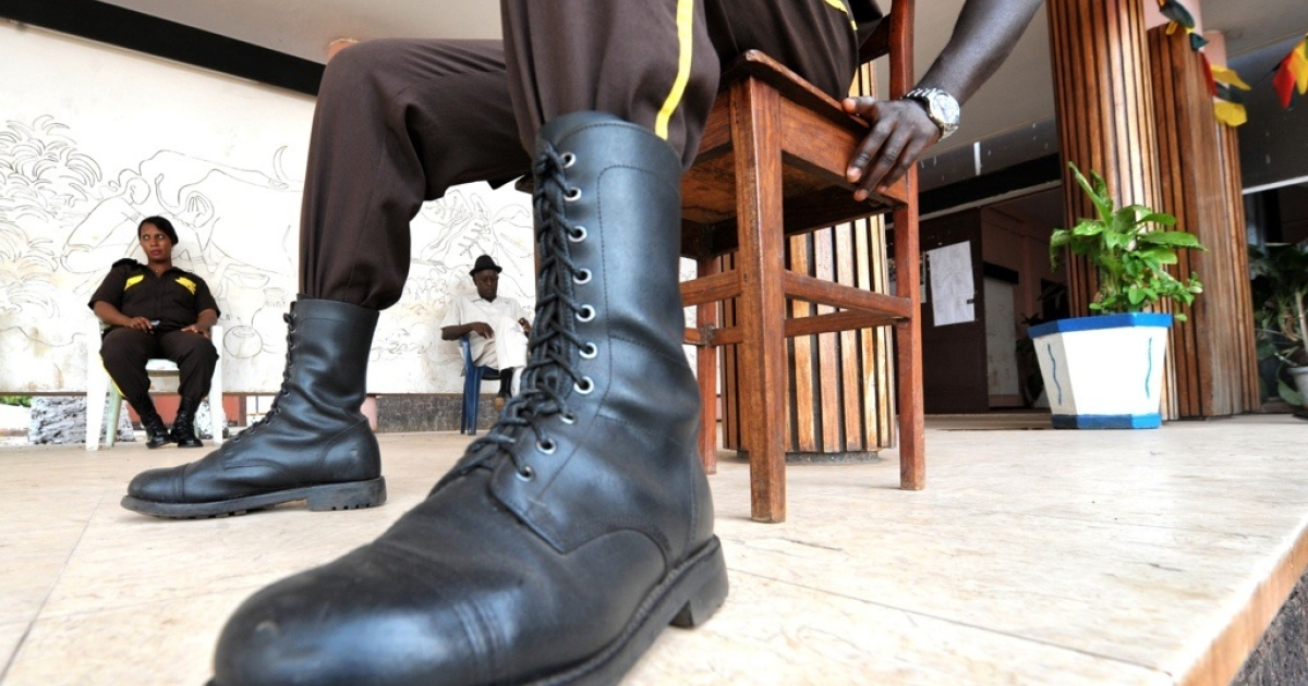 Security guard in Guinea-Bissau on April 18, 2012, in the capital, Bissau.</p>