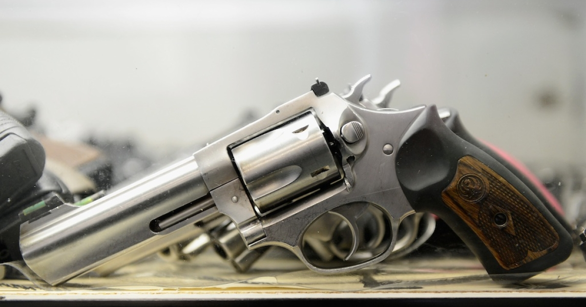 A Smith &amp; Wesson .357 magnum revolver is displayed for customers to rent at the Los Angeles Gun Club on December 7, 2012 in Los Angeles, California.</p>