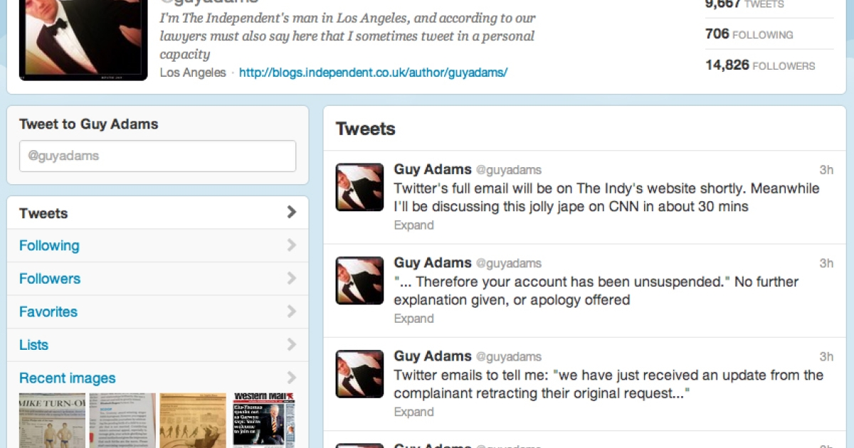 Screengrab from @guyadams Twitter account on July 31, 2012.</p>