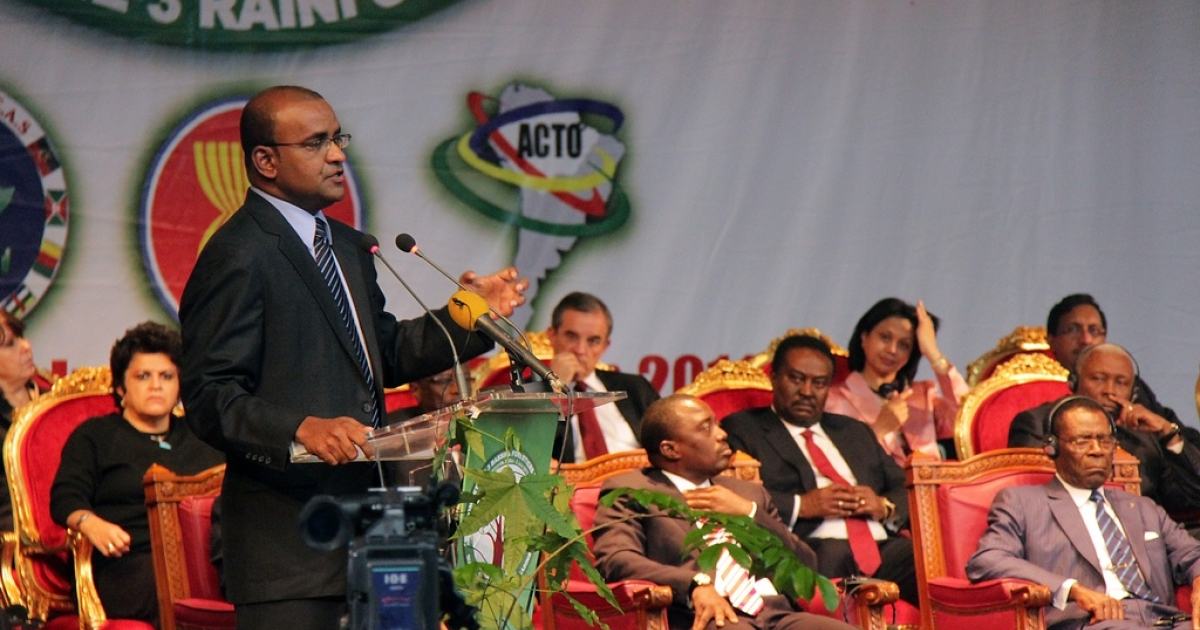 One Love: that's politics in Guyana. Above, the current president, Bharrat Jagdeo, in June 2011.</p>