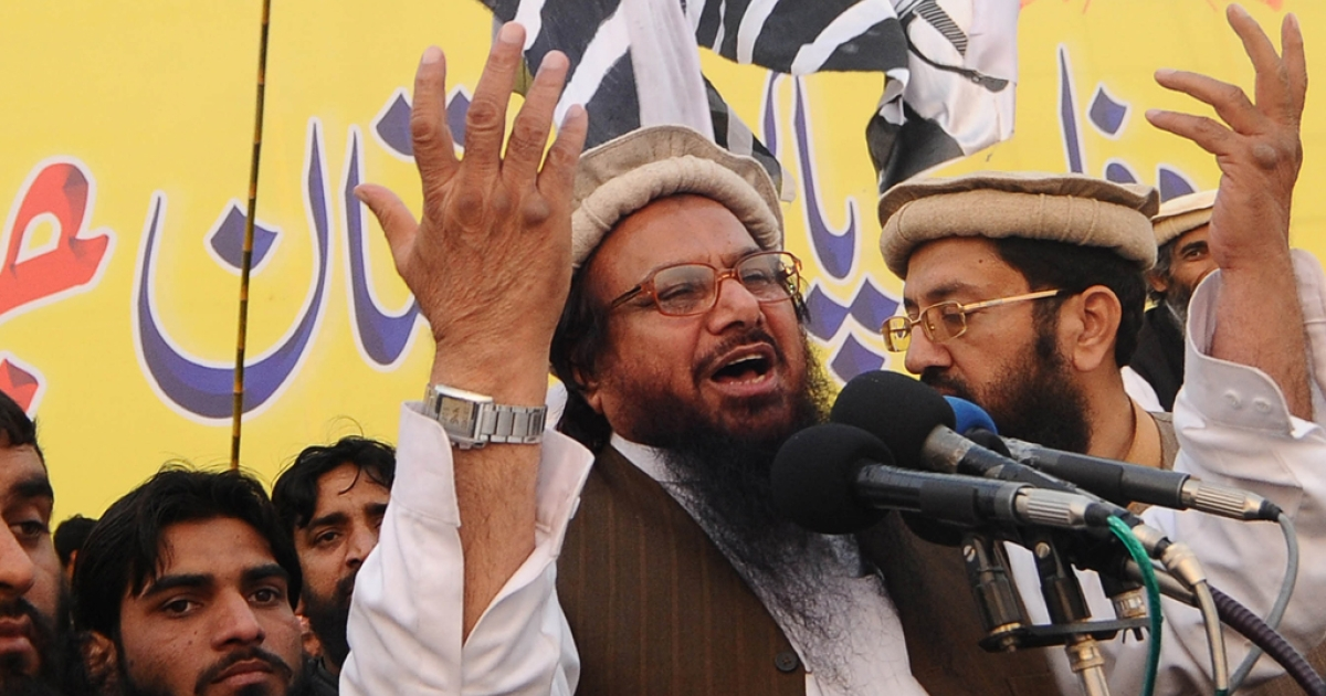 Hafiz Saeed, the founder of the militant group Laskar-e-Taiba, speaks during a protest rally in Lahore, Pakistan on December 18, 2011. The US has placed a $10 million bounty on Saeed, as of April 3, 2012.</p>