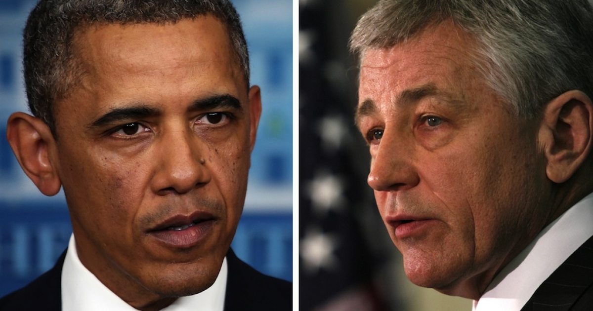 President Obama (L) and Chuck Hagel (R). Obama will reportedly nominate former Republican Senator Chuck Hagel for defense secretary, replacing Leon Panetta.</p>