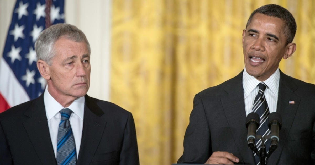 President Barack Obama and Secretary of Defense nominee Chuck Hagel Jan. 7, 2013 in Washington D.C. Some view Hagel as a concession to the far right while others praise the selection of a moderate Republican.</p>