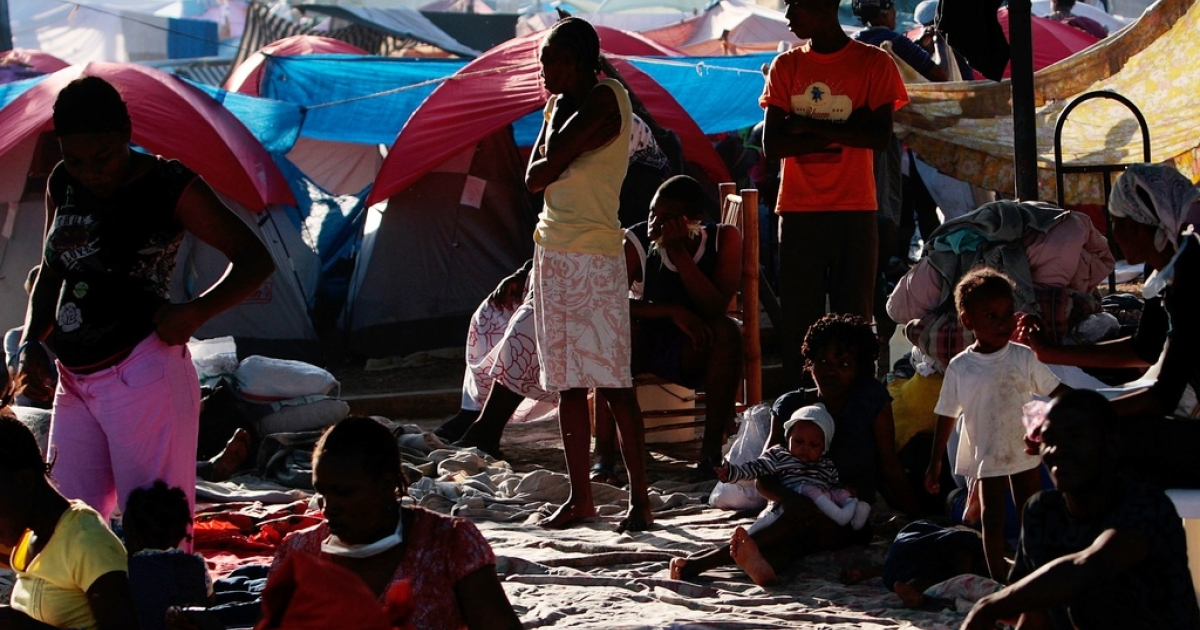 A makeshift refugee camp across in Port-au-Prince on Jan. 18, 2010.</p>