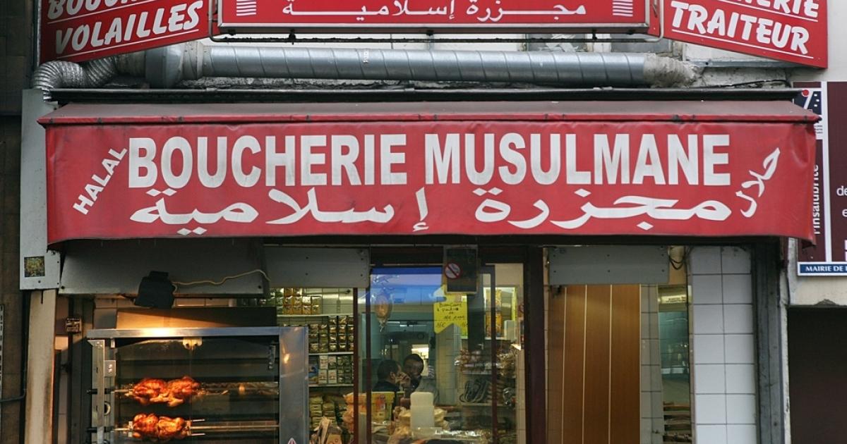 A halal butcher shop in Paris.</p>