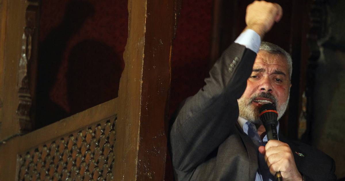 Hamas's Gaza premier Ismail Haniya delivers a speech after Friday prayers in the Al-Azhar grand mosque in Cairo on Feb. 24, 2012 where he hailed the 'heroic' Syrian struggle for democracy.</p>