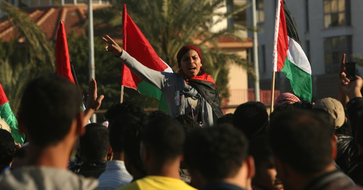 Palestinian demonstrators take part in a protest calling for Palestinian political unity between Gaza's Hamas rulers and the Fatah-dominated Palestinian Authority, which rules from Ramallah, on March 15, 2011, in Gaza City.</p>