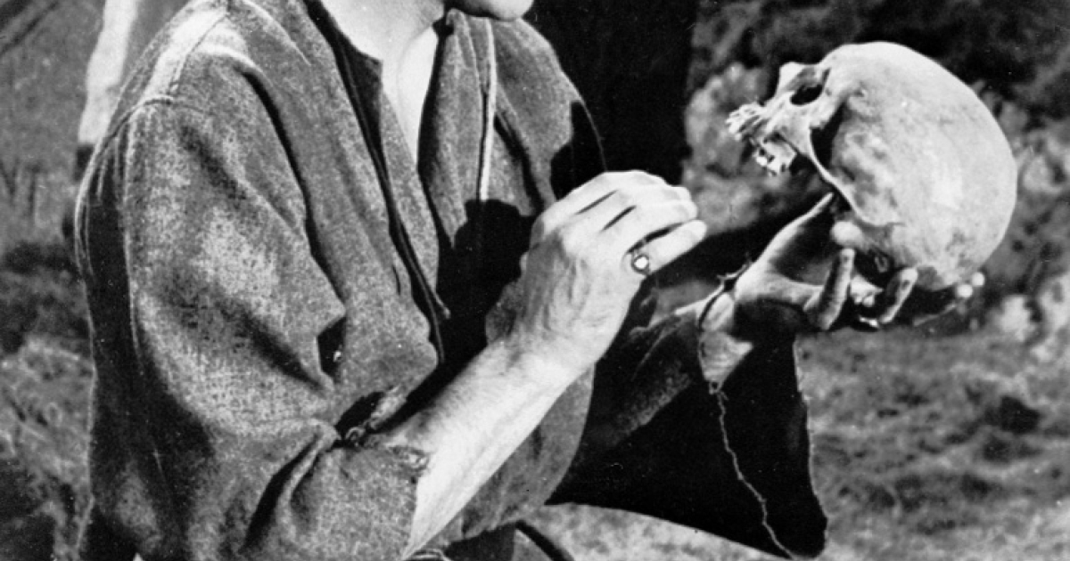 Sir Laurence Olivier as Hamlet.  Was the Prince of Denmark crazy? or just in need of some psychotherapy?</p>