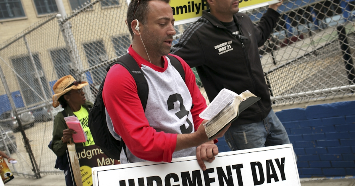 Participants in a movement that is proselytizing that the world will end May 21, 2011, Judgment Day, walk through the streets in New York City. The Christian based movement, which claims thousands of supporters around the country and world, was founded by the Oakland, Calif.-based Harold Camping. Camping was wrong on his prior end-of-the-world prediction in 1994, and also wrong about the rapture coming on May 21, 2011.</p>