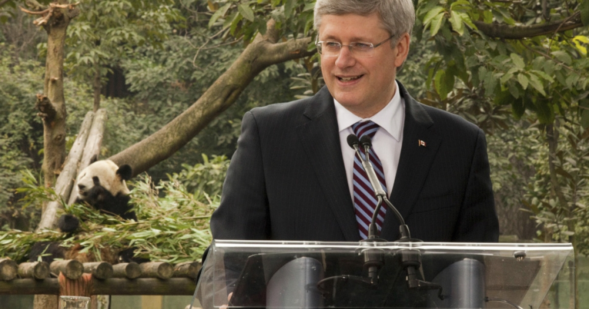 Prime Minister Stephen Harper speaks to reporters at the Chongqing zoo after announcing China is lending two panda bears to Canada.</p>