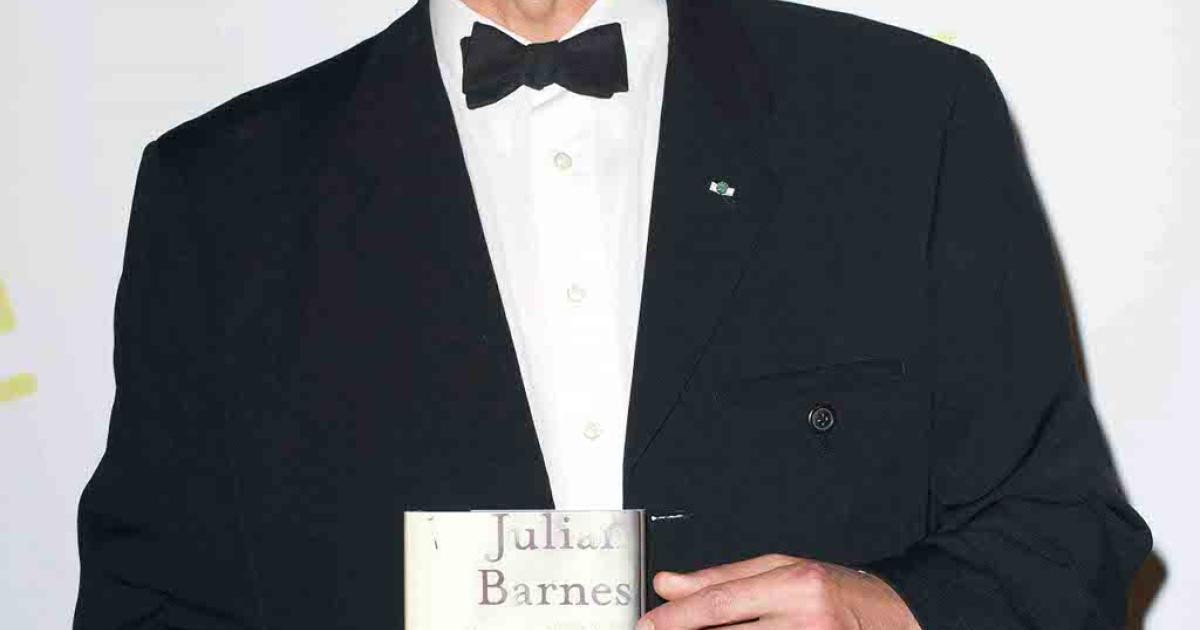 Novelist Julian Barnes holds his Man Booker Prize trophy after winning the award last October.  Hatchet Job of the Year nominee Geoff Dyer called Barnes' prize-winning novel