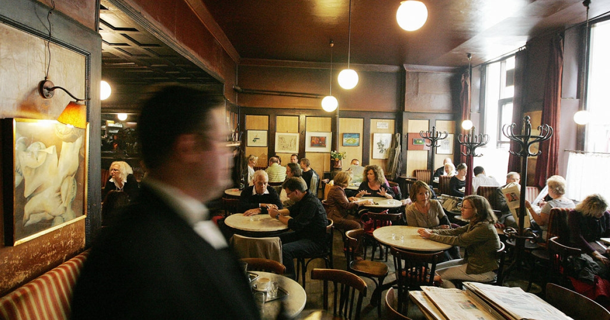 A typical afternoon at Cafe Hawelka in Vienna.</p>