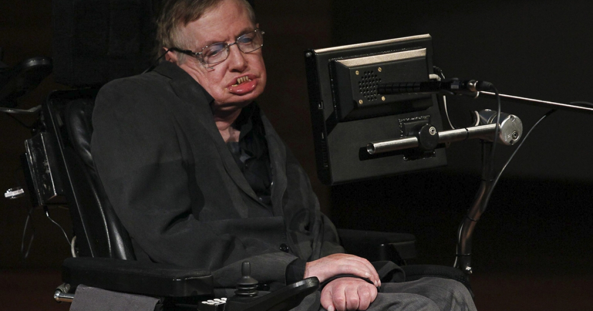 A photo of Stephen Hawking taken last autumn.  The physicist was to ill to attend his 70th birthday celebration yesterday in Cambridge.</p>