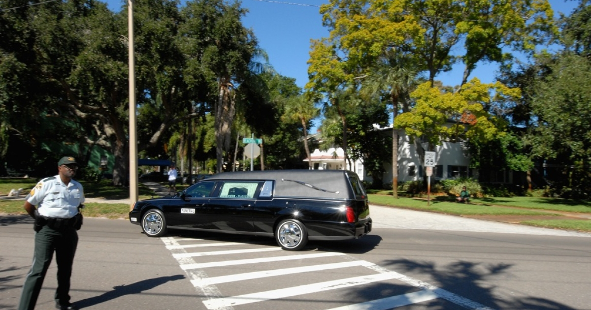 A funeral hearse.</p>