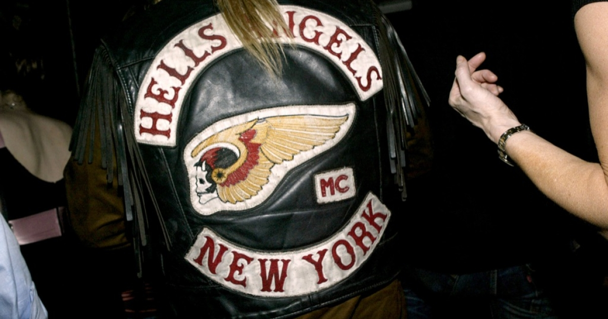 A member of the New York chapter of the Hells Angels attends the Premiere of