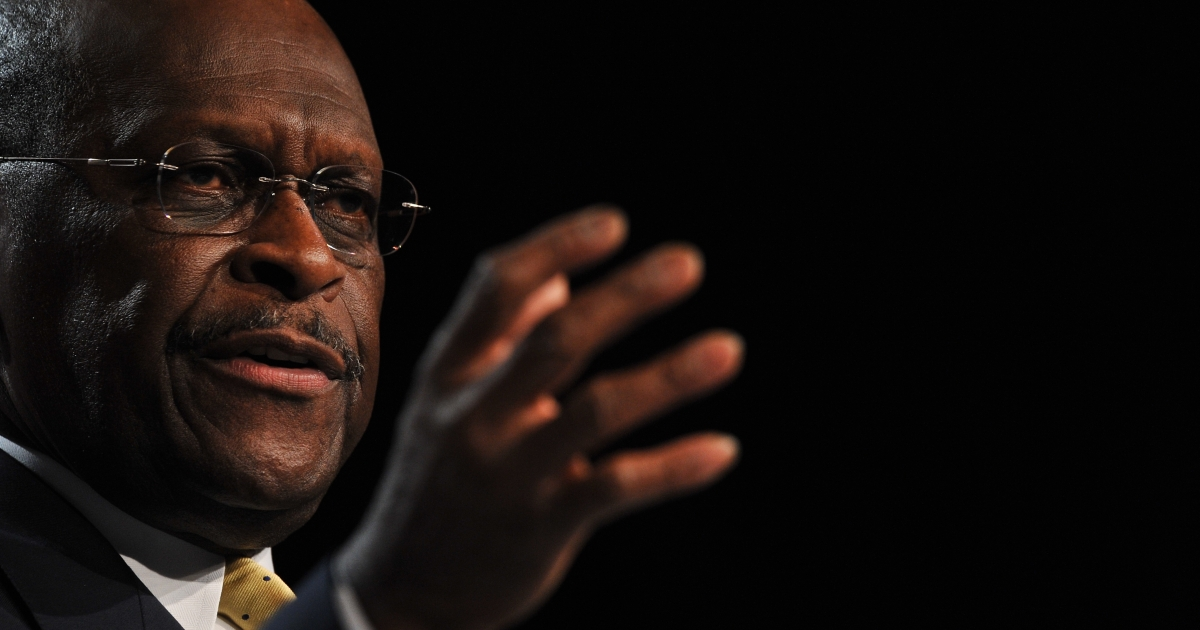 US Republican presidential hopeful Herman Cain addresses the Family Research Council's Values Voter Summit in Washington on October 7, 2011.</p>