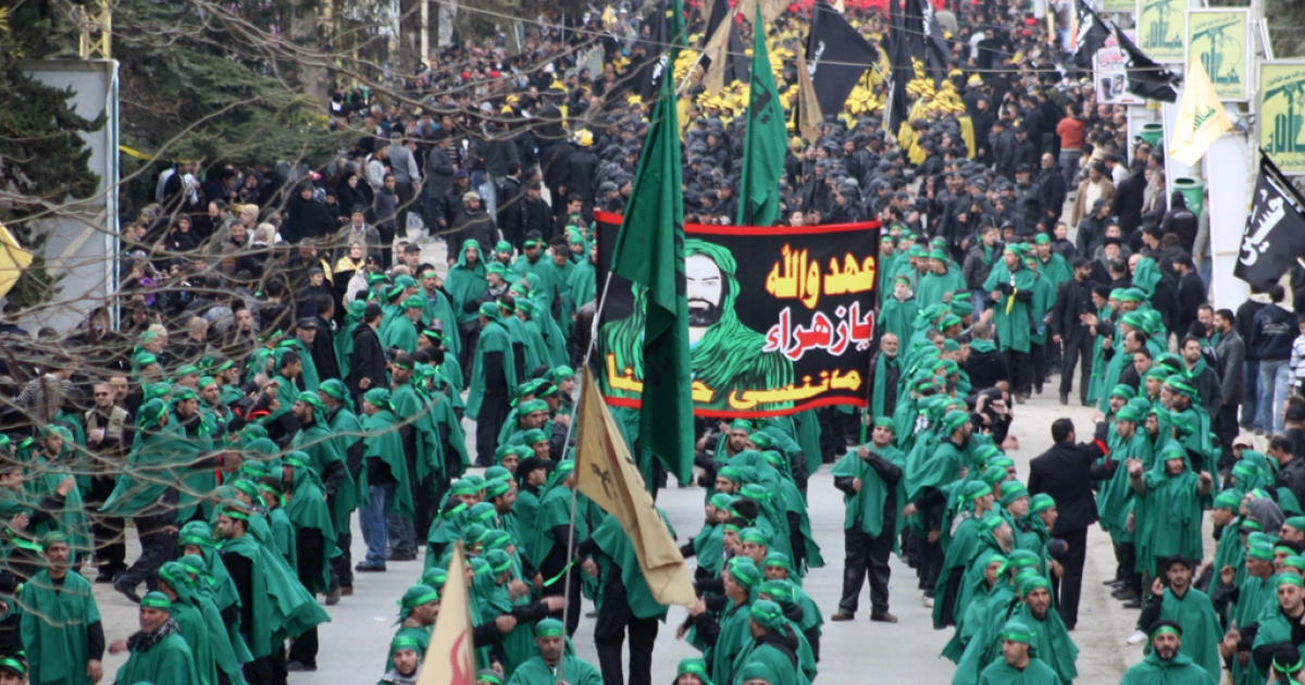 Shiite Muslim pilgrims affiliated to Hezbollah take part in rituals on January 25, 2011, in Baalbek.</p>