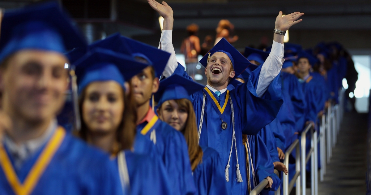 Students at Cypress Bay High School's commencement ceremony in Miami, Fla., on June 4, 2012.</p>
