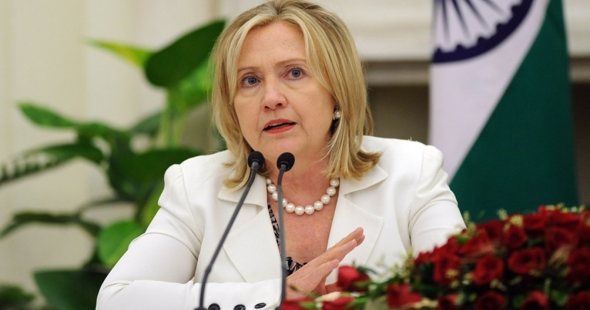 Hillary Clinton addresses the media during a joint press conference in New Delhi on July 19, 2011.</p>