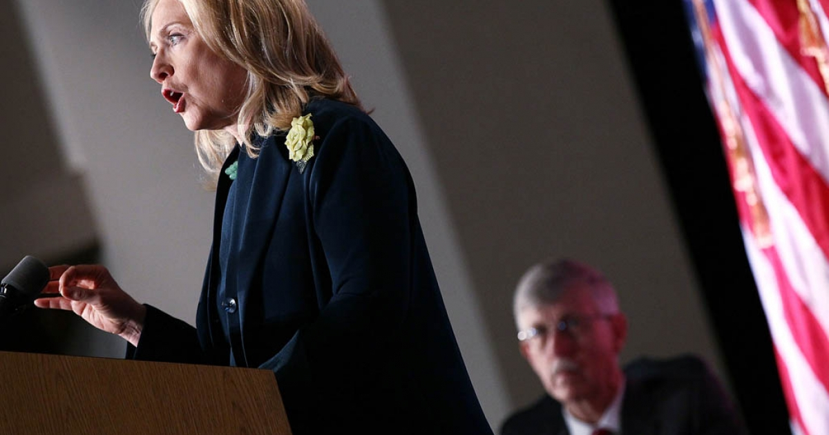 U.S. Secretary of State Hillary Clinton speaks on the future of the global HIV/AIDS epidemic in a speech to the National Institutes of Health November 8, 2011 in Bethesda, Maryland.</p>