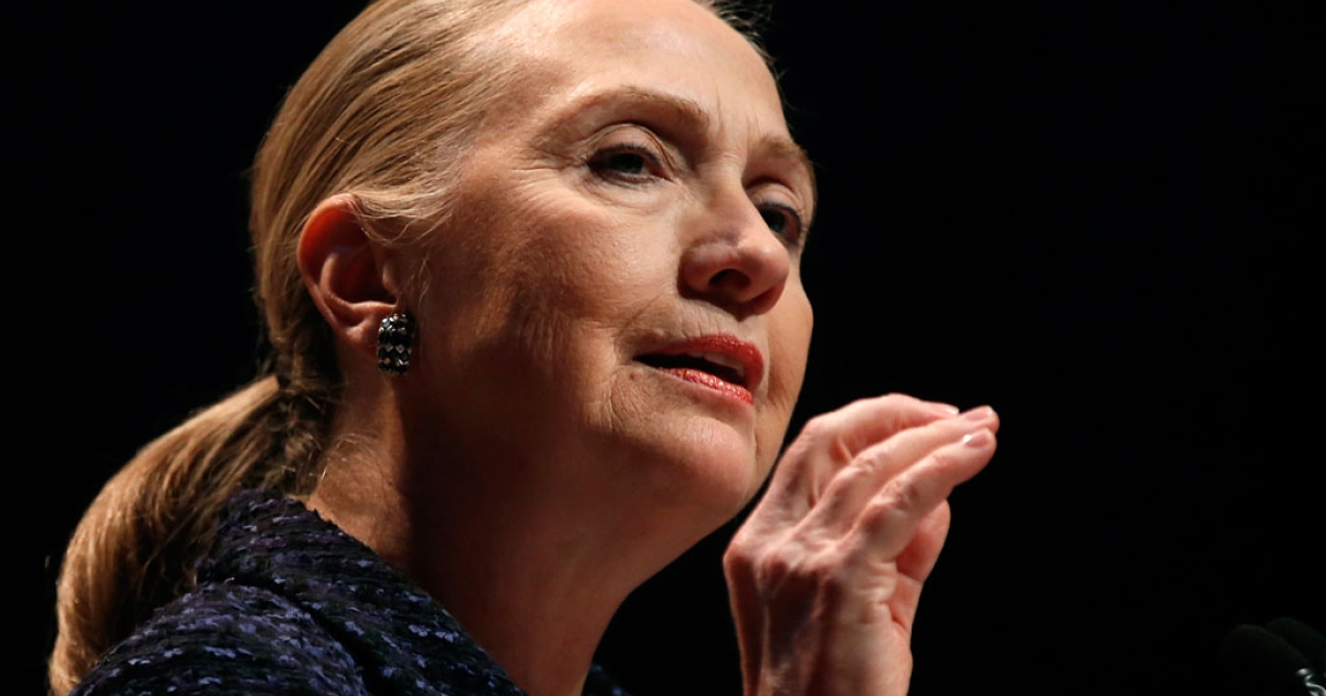 US Secretary of State Hillary Clinton delivers a speech in Dublin, Ireland, on Dec. 6, 2012. While battling a stomach virus, Clinton fainted and received a concussion on Dec. 15, 2012. She's recovering from home.</p>